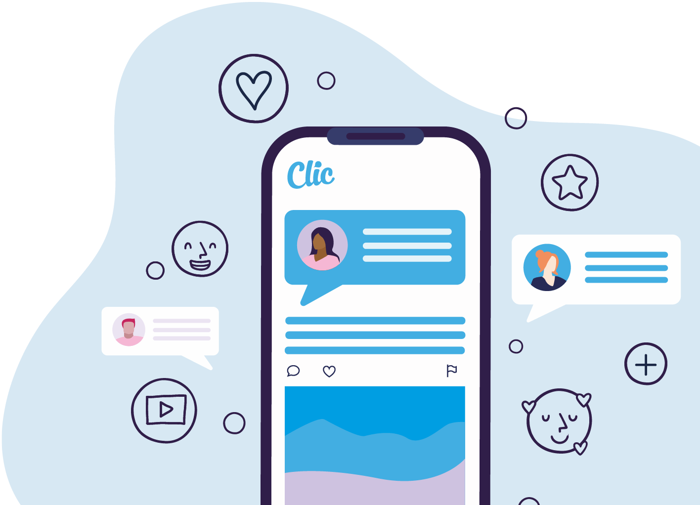 Illustration of mobile phone with CLIC